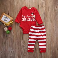 """Детский новогодний костюм мальчику Боди и штаны с оленем """"Мой первый новый год""""  90рост"""