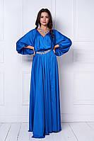 Элегантное женское  длинное платье материал шелк, пояс обшитый камнями. Цвет электрик