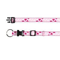 """Ошейник для собак  """"Сердце"""" EASY, 15-25 см/10 мм, нейлон, розовый."""