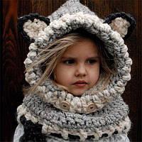 "Шапочка, шапка - шлем, демисезонная / еврозима ""Кошка"", шерстяная, р. 4-10 лет"