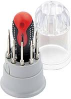 Отвертка для точных работ Fusion с насадками, 11 пр. в пласт. пенале, 3-х комп. рукоятка// MTX 11582 115829