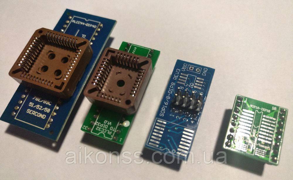 4 шт адаптеры к программатору PLCC32 to DIP32 PLCC44 to DIP44 SOP16/SOP8 MSOP8/SSOP8
