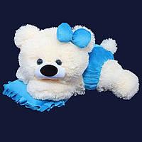 Мягкая плюшевая игрушка Мишка Малышка 45см белый с голубым ММ18-13 (мягкая игрушка мишка)