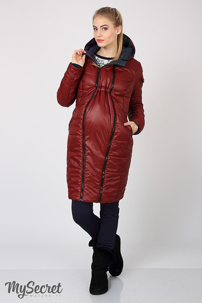 Куртка пальто зимнее для беременных двустороннее бордо и синий размер 44