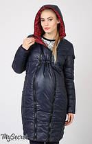 Куртка пальто зимнее для беременных двустороннее бордо и синий размер 44, фото 3