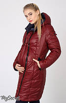 Куртка пальто зимнее для беременных двустороннее бордо и синий размер 44, фото 2