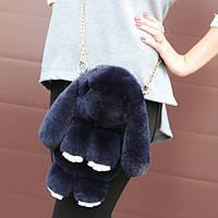 Сумка-рюкзак Кролик Fendi из натурального меха серая