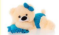 Мягкая плюшевая игрушка Мишка малышка ММ18-13 (персиковая с голубым)