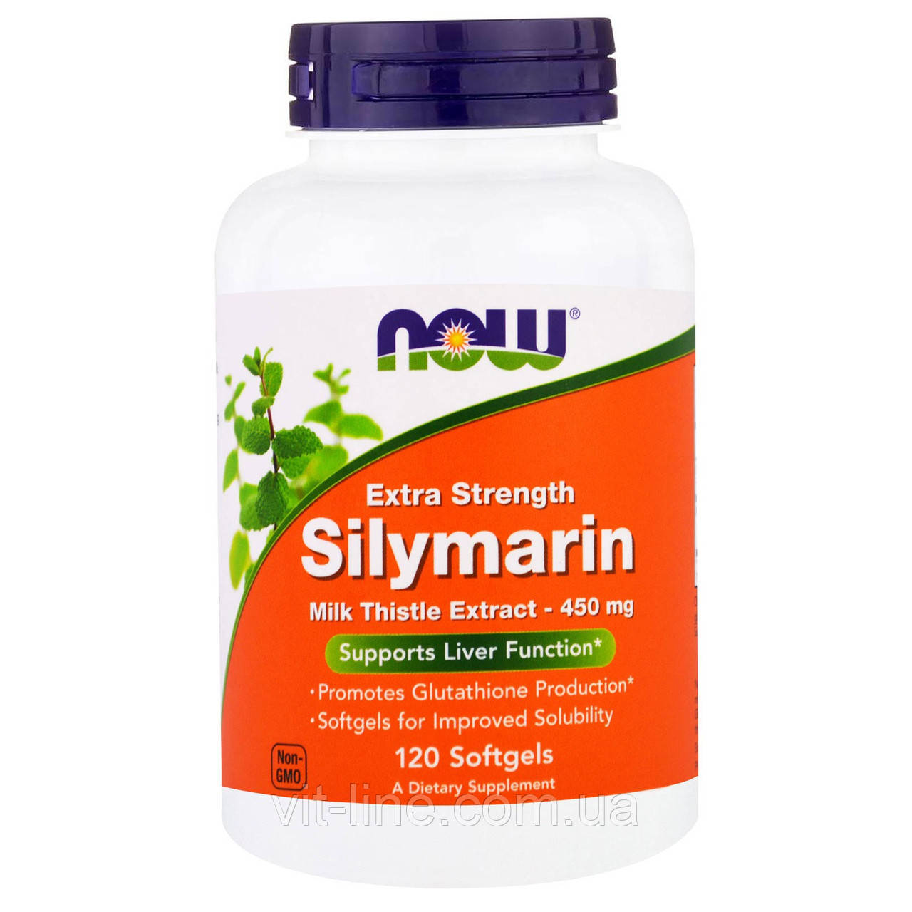 Now Foods, Silymarin, сильнодействующий экстракт расторопши Extra Strength 120 капсул