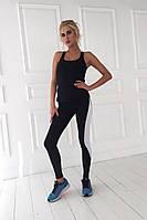 Стильный женский костюм для фитнеса и тренажерного зала, материал итальянский бифлекс, черный