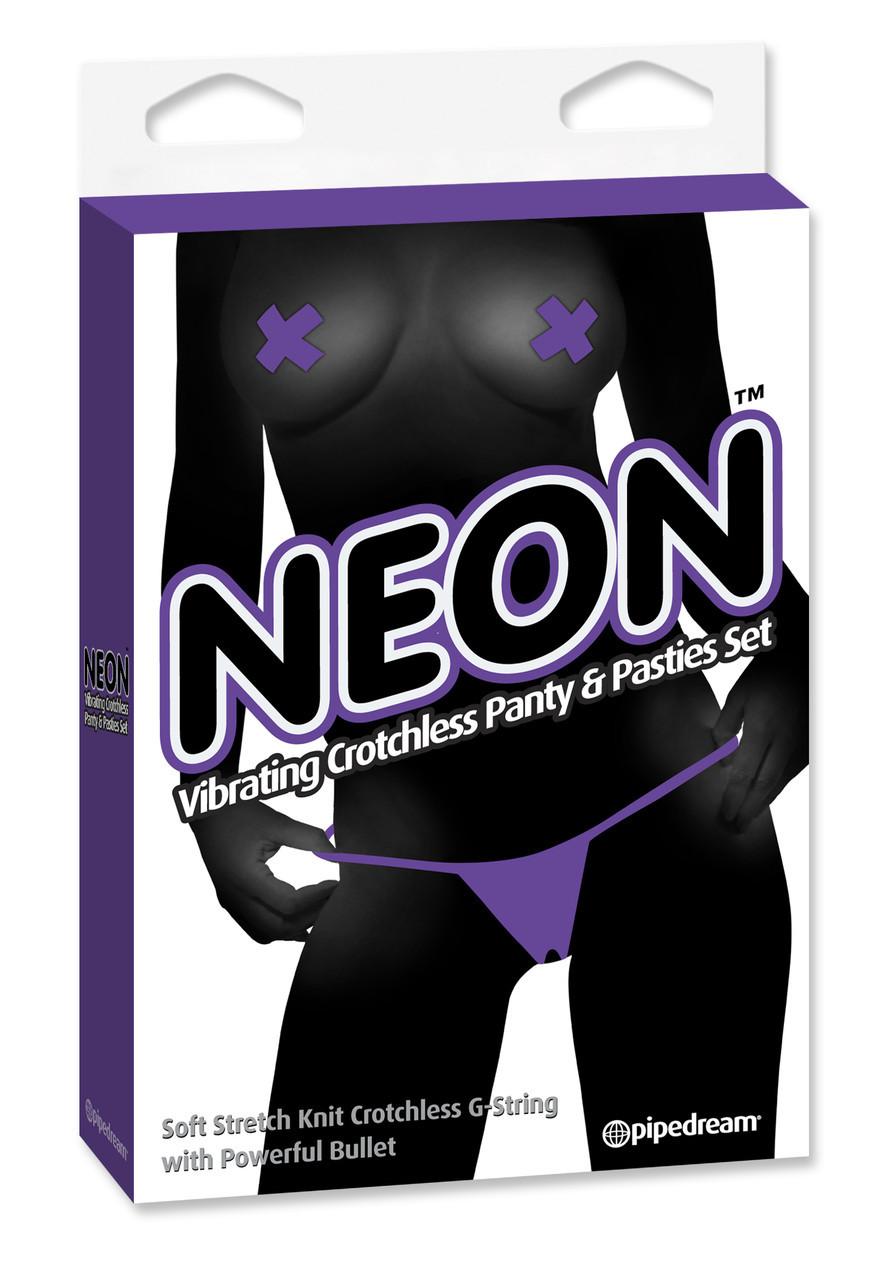 Неоновые вибротрусики для женщин Neon Vibrating Crotchless Panty