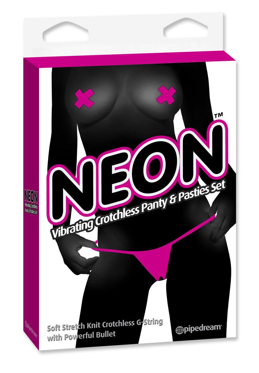 Вибротрусики женские Neon Vibrating Crotchless Panty