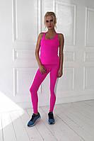 Стильный женский костюм для фитнеса и тренажерного зала, материал итальянский бифлекс, малиновый