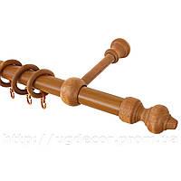 """Карниз трубчатый с деревянной фурнитурой """"Кардинал""""  (1.6 - 3.5) метра"""