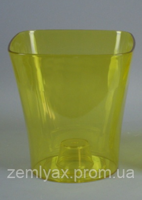 Кашпо, доставка из Одессы квадро, 130 мм, желтый