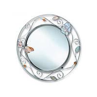 """Зеркало настольное круглое 28 см. """"Стрекоза с розой"""" серебристое, металлическое со стразами"""