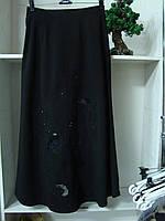 Женская классическая юбка черного цвета длинная, фото 1
