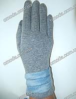 Трикотажные перчатки с пуговицами серые