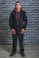 Спортивный мужской костюм с начесом черный