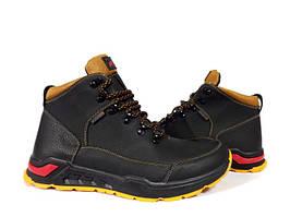Ботинки осень весна мужские Ecco. Черные с желтым