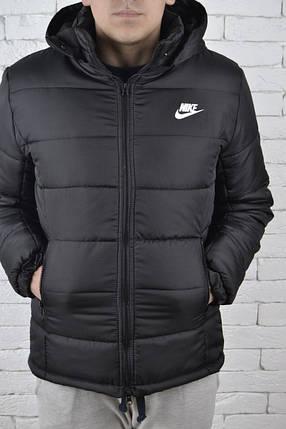Мужская зимняя парка Nike черная топ реплика, фото 2