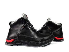 Ботинки весна мужские Ecco зимние черные с серым
