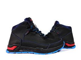 Ботинки полуботинки Ecco мужские зима весна. Черные с синим