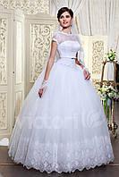 Свадебное платье пышное с короткими рукавами, закрытый лиф