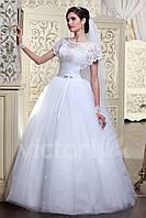 Свадебное платье пышное с фатина, рукава летучая мишь