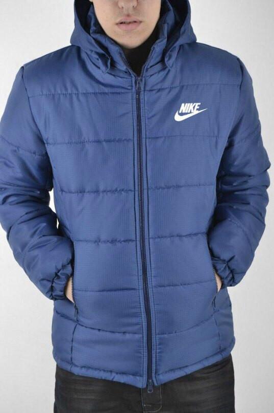Мужская зимняя парка Nike синяя топ реплика