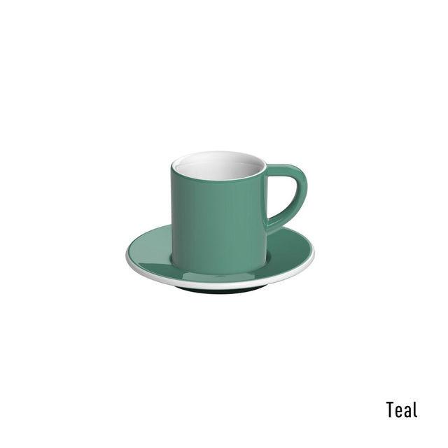 Чашка и блюдце под эспрессо Loveramics Bond Teal (80 мл  )