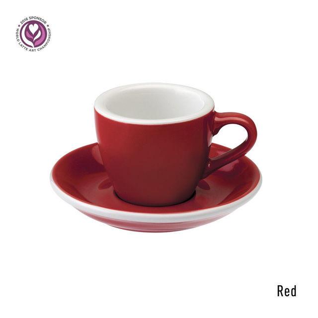 Чашка и блюдце под эспрессо Loveramics Egg  Red (80 мл)