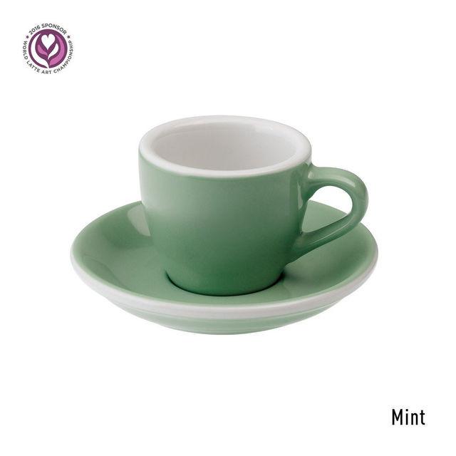Чашка и блюдце под эспрессо Loveramics Egg Mint (80 мл)