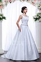 Очень красивое свадебное платье со шлейфом, с широкими брителями, атласное, элегантное, с карманами