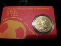 Монета одна гривна с логотипом Евро-2012, сувенирная упаковка