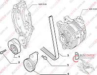 """Натяжной ролик генератора (паразитный ролик c кронштейном """"для автомобилей без кондиционера"""") Fiat Scudo (2007-……) 9654954880 GATES GAT T36428"""