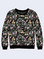 Оригинальный женский свитшот/толстовка Полевые цветы с очаровательным принтом.