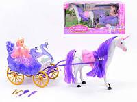 Карета  с куклой и лошадью свет, звук