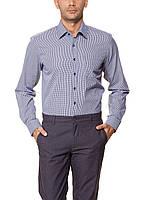 Мужская рубашка LC Waikiki белого цвета в синюю клеточку с синими пуговицами