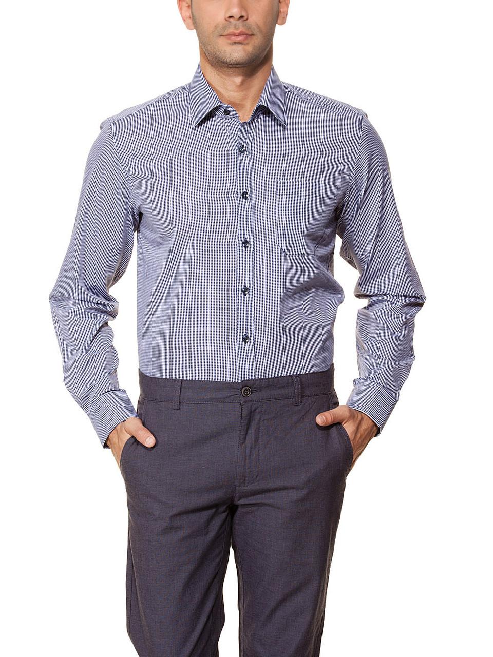 b1d976471de Мужская рубашка LC Waikiki белого цвета в синюю клеточку с синими  пуговицами - Интернет-магазин
