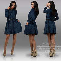 Батальное платье из теплого плотного джинса. Арт-8894/42