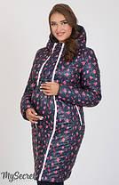Куртка пальто зимнее для беременных в розочку, фото 2