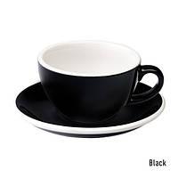 Чашка и блюдце под кофе с молоком Loveramics Egg Flat White Cup(150 мл) (Black