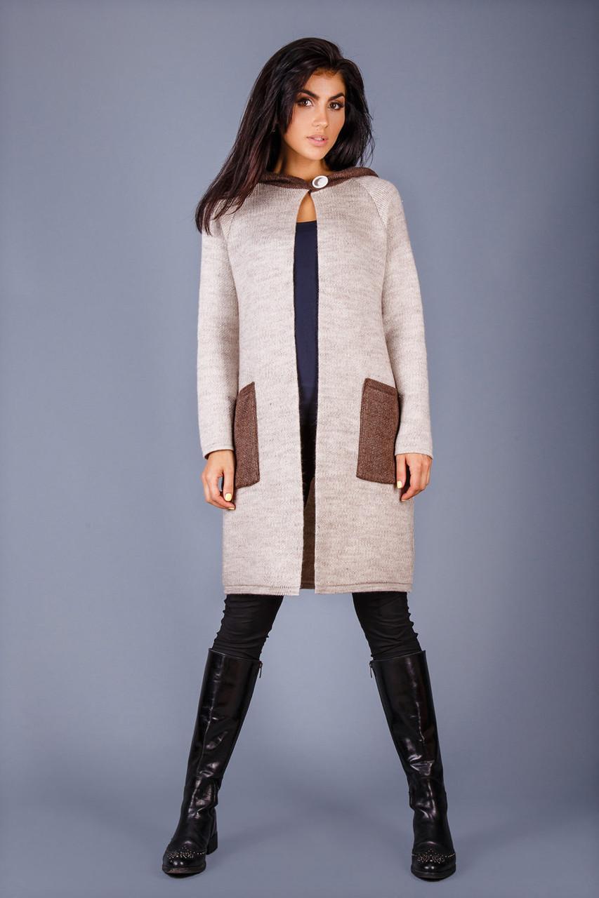 Вязаное пальто плотной вязки свободный прямой силуэт с капюшоном