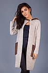 Вязаное пальто плотной вязки свободный прямой силуэт с капюшоном, фото 2