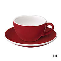 Чашка и блюдце под кофе с молоком Loveramics Egg Flat White(150 мл) (Red)