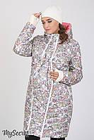 Куртка пальто зимнее для беременных в цветы
