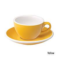 Чашка и блюдце под кофе с молоком Loveramics Egg Flat White(150 мл) (Yellow)