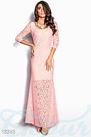 Вечернее кружевное платье. Цвет пудрово-розовый.
