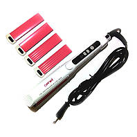 Утюжок для волос с насадками гофре профессиональный Gemei GM2913T, 3 насадки, терморегулятор, 125 Вт